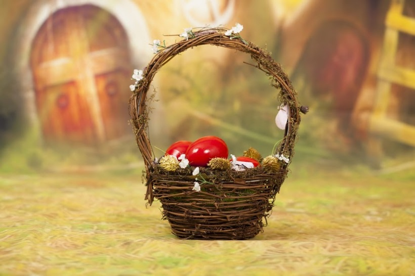 bigstock-Red-Easter-eggs-in-basket-120748574